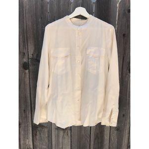 J-Crew cream silk button down top size Medium